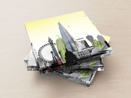 London Skyline With A Twist Yellow - Glass Coasters